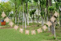 4.2 m JUST MARRIED cuori misero dell'annata dell'assia rustica tela Banner wedding bunting banner HF02