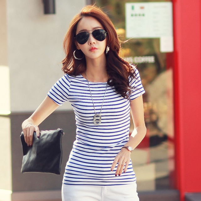 b7b5a4e469239 Loose Striped Cotton Brief Short Sleeve T Shirt Casual Tee Fashion Lady  Summer Women Lady Clothing T-Shirts Tops