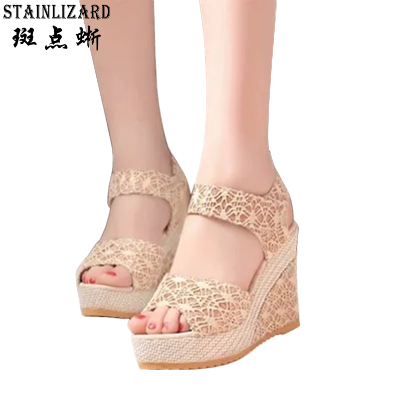 New Fashion Summer Wedges Woman Sandals The Bottom Of The Thick Platform Shoes Wild Bud Silk Hollow Out Concise Heels ST12 phyanic 2017 gladiator sandals gold silver shoes woman summer platform wedges glitters creepers casual women shoes phy3323