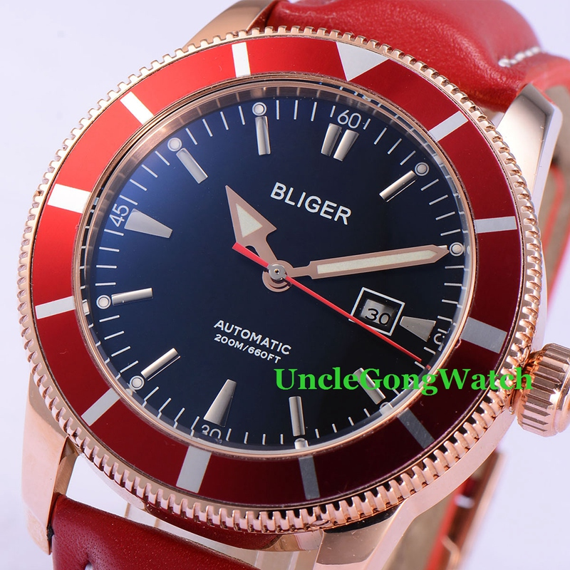 46mm Bliger Mens Auto Watches Black Dial Rose Gold PVD Case Timepiece Red Bezel Leather Strap Deployment Buckle Clock BA4601RKR