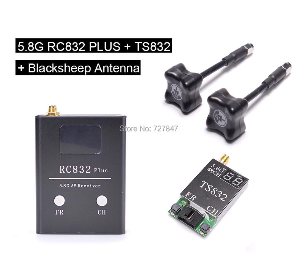 BlackSheep 5.8G RP-SMA Clover antenna + TS832+ RC832 Plus 5.8G 600mw 5km Wireless AV Transmitter Receiver for FPV RC Quadcopter ufofpv tx35 5 8g 40ch raceband 0mw 25mw 300mw adjustable fm av fpv transmitter sma rp sma for fpv quadcopter rc drones diy page 1
