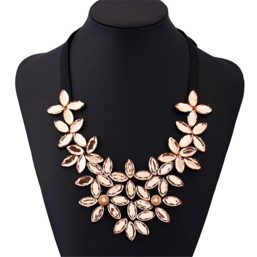 Magnífico collar de cinta de la flor de las mujeres collar de cadena corta colga