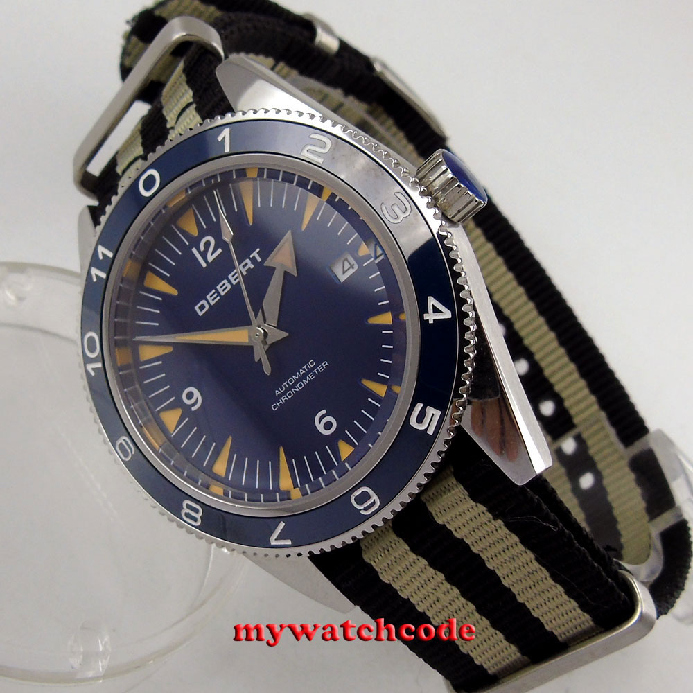41mm debert blue dial luminous marks sapphire glass miyota automatic mens Watch цена и фото