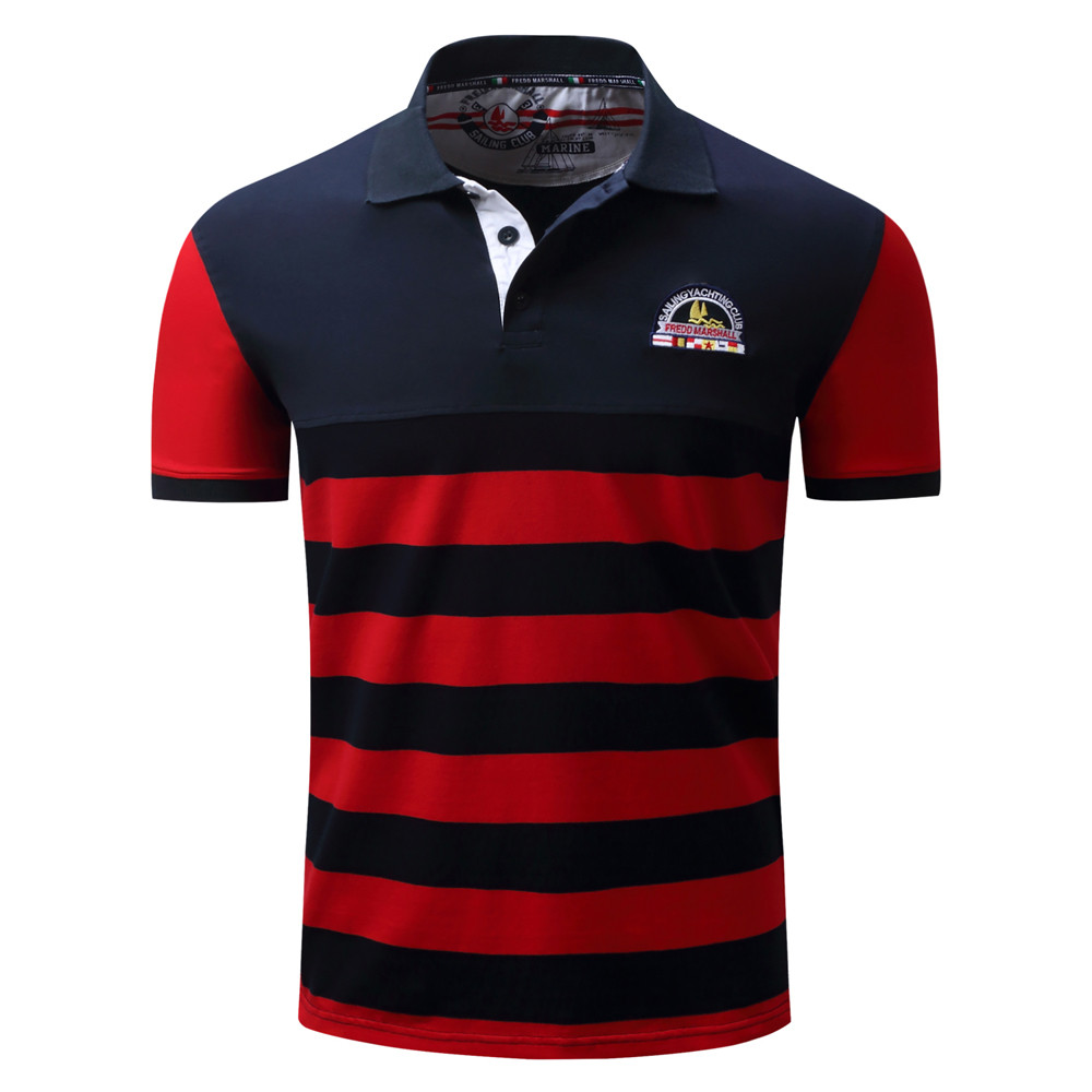 2018 Polo Shirt Men Stripe Casual Button Splicing Pullover Short Sleeve T-shirt Top Blou ...