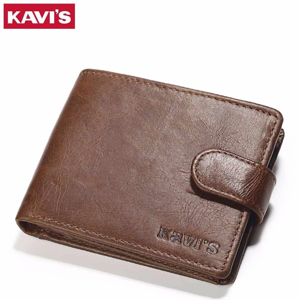 KAVIS Genuine Leather Wallet Men Small Coin Purse Male Cuzdan Walet Portomonee Mini Slim Perse PORTFOLIO Vallet Card Holder Rfid