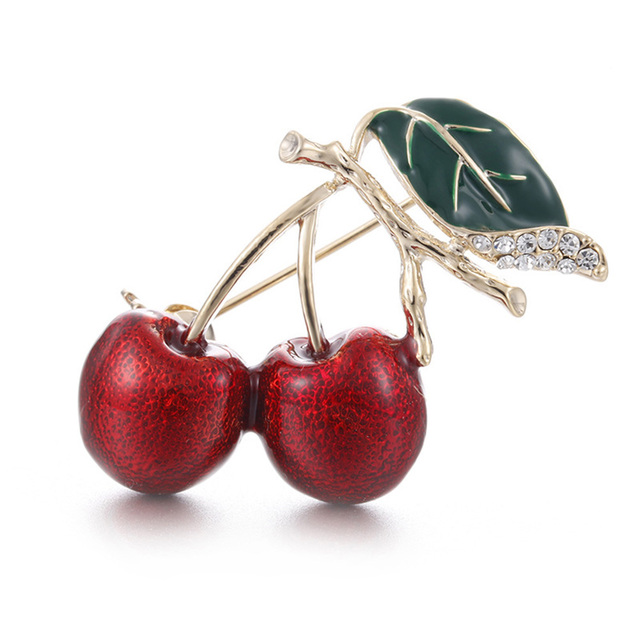 1 Piece Cute Lovely Green Leaves Cherry Brooch Red Drop Oil Corsage Daily Wear F