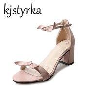Kjstyrka Brand Elegant Sandals Women Butterfly Knot Med Heels Pumps 6 5cm Women S Banquet Sandals