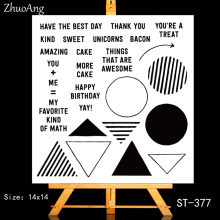 ZhuoAng happy birthday yay Transparent and Clear Stamp DIY Scrapbooking Album Card Making Decoration