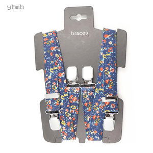 Image 1 - YBMB Christmas Gifts High Quality Fashion  2.5CM 4Clips Mens Suspenders X Shape Adjustable Durable  Elastic Belts Straps Braces