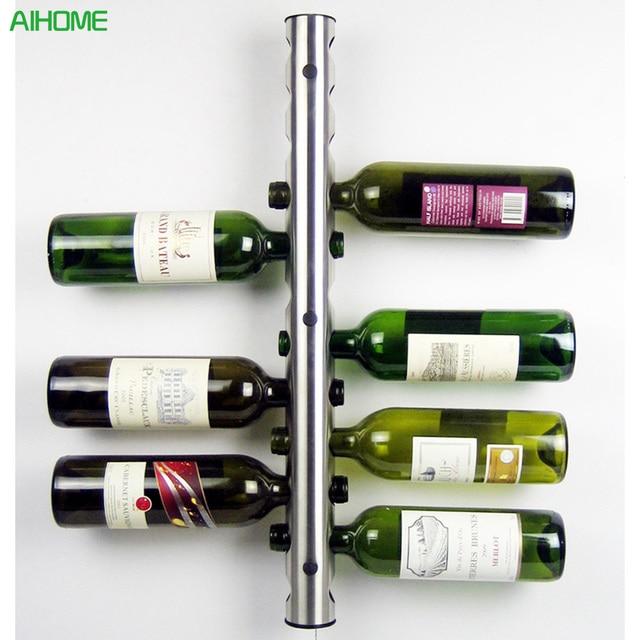 Creative Wine Rack 8 12 Holes Home Bar Wall Grape Bottle Holder Silver Display