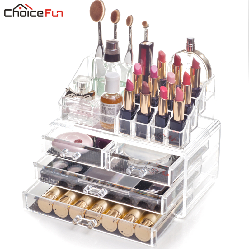 Cosmetic-Organizer Makeup-Brush-Holder Stackable Bathroom Acrylic 4-Drawers Clear