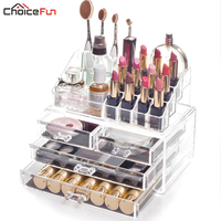 Bathroom Clear Stackable 4 Drawers Makeup Organize Organizador Acrylic Makeup Brush Holder Cosmetic Organizer For Cosmetic