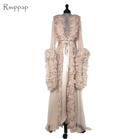 Long Evening Dress 2018 Gorgeous Long Sleeve See Through Women Champagne Formal Evening Gowns