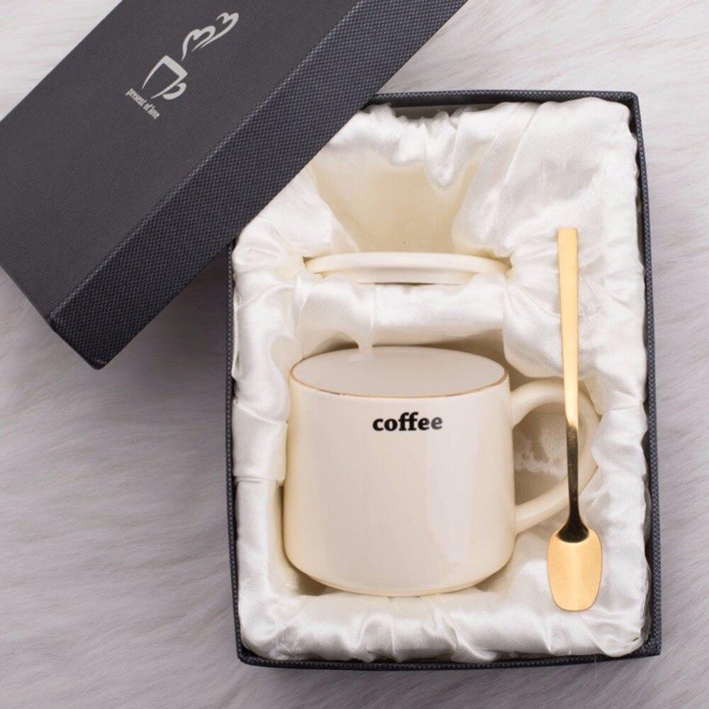 Handmade Ceramic cup Coffee Mugs Tea Cup Drinkware - Golden Line Mugs Lid and Spoon Creative Dairy Gift