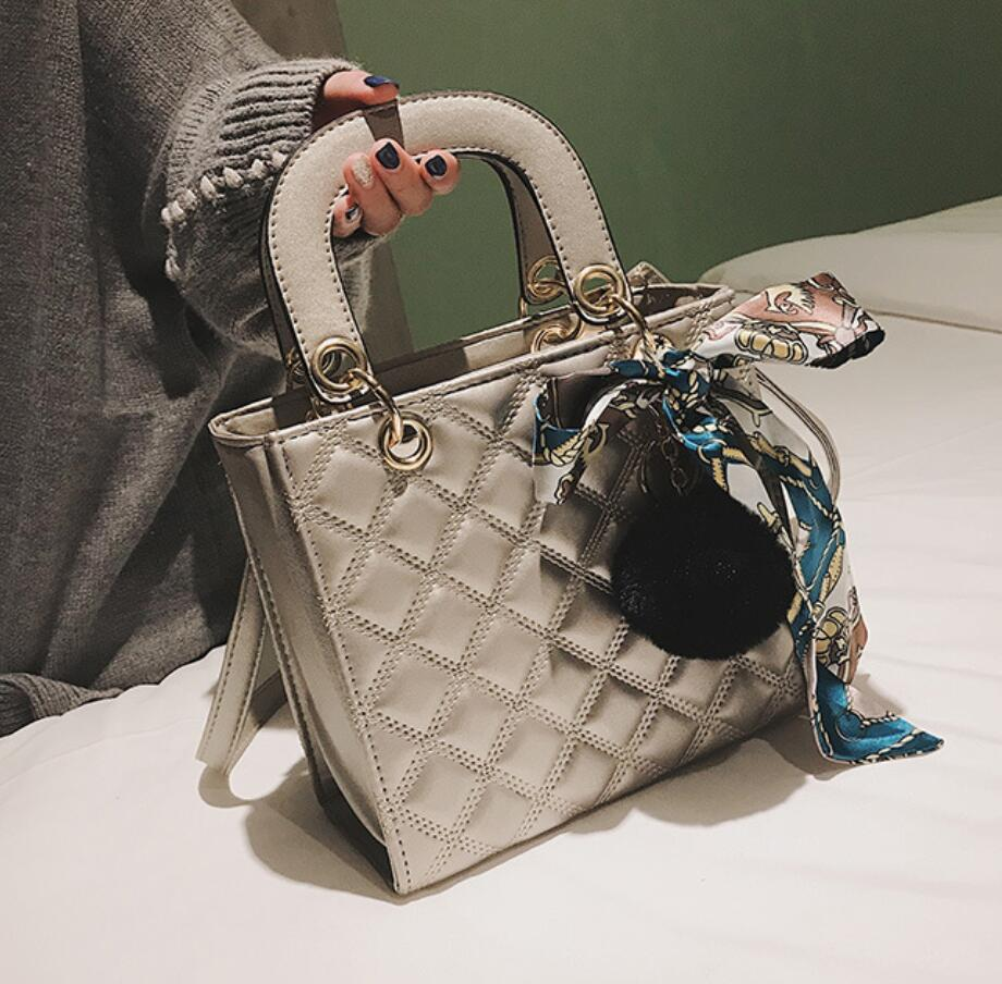 European Fashion Female Tote Bag 2020 New Quality PU Leather Women's Designer Handbag Ribbon Hair Ball Shoulder Messenger Bags