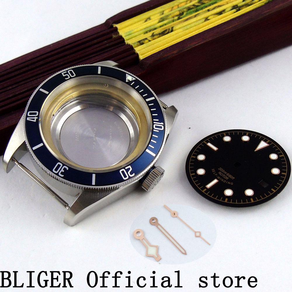 41mm Bliger sapphire glass ceramic bezel watch case+dial luminous hands fit ETA 2836 movement Watch Men