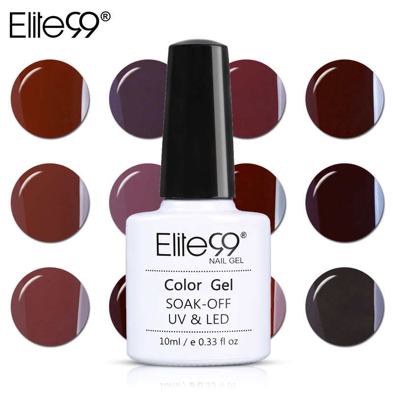 Elite99 10ML Nail Art Gel Pure Color Coffee Brown 1-12 UV LED Nail Gel Polish Soak off varnish lacquer Long-lasting Surface