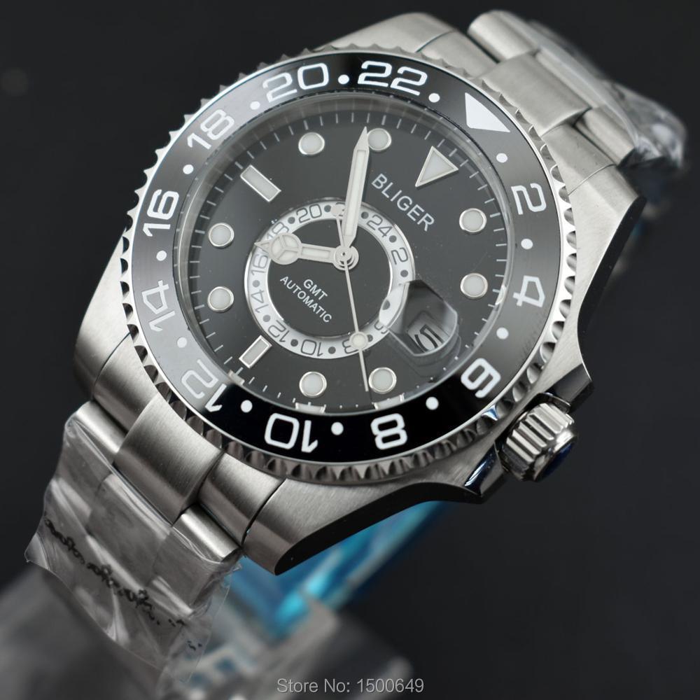 BLIGER 43mm funkcja ceramiczne obracać Bezel czarna tarcza z koraliki data automatyczny niebieski wskaźnik świetlny męskie zegarki na rękę w Zegarki mechaniczne od Zegarki na  Grupa 1