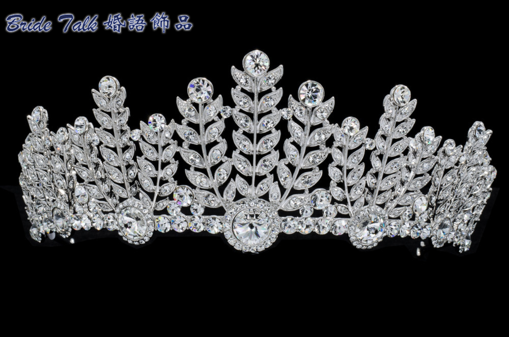 New 2015 Fashion Austrian Crystal Flower Leaf Tiaras Crown for Wedding Jewelry Tiara Hair Accessories Pageant Prom Party SHA8673