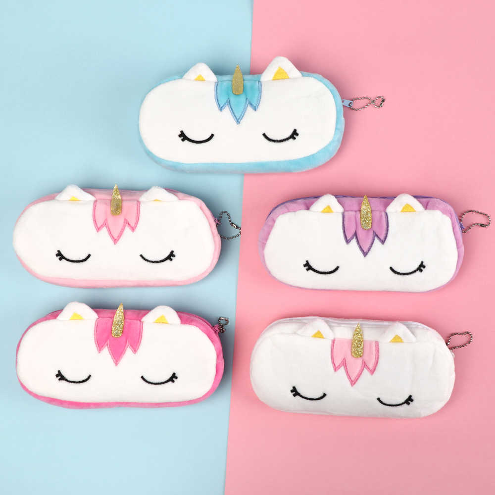 1PC 20CM Kawaii  Unicorn Plush Pouch Pencil Case Bag Key Chain Pendant Coin Purse Wallet Case Pouch Bag School Supplies Gift