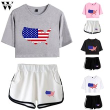 Womail tracksuit Summer Women 2PCS American Flag print Loose Short Sleeve Top+Shorts Set sport Run Suit Simplicity Casual J624(China)