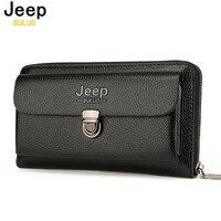 JEEP BULUO Men Wallets 2017 New Casual Wallet Men Purse Clutch Bag Brand Leather Wallet Long