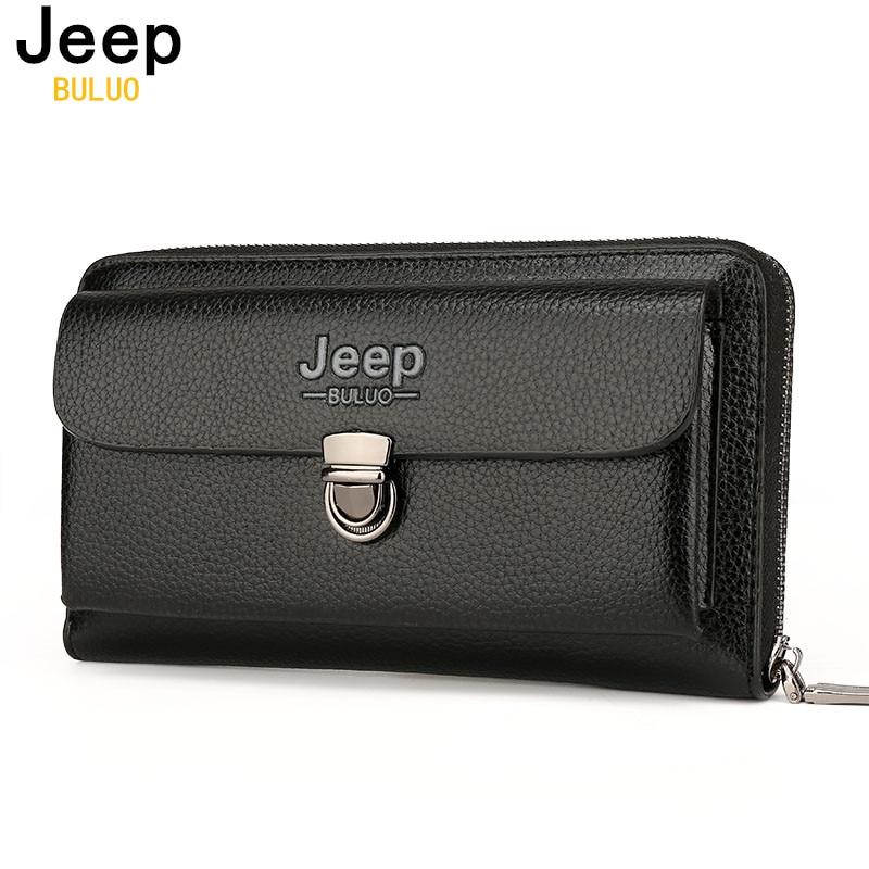 JEEP BULUO Men Wallets 2017 New Casual Wallet Men Purse Clutch Bag Microfiber Leather Wallet Long