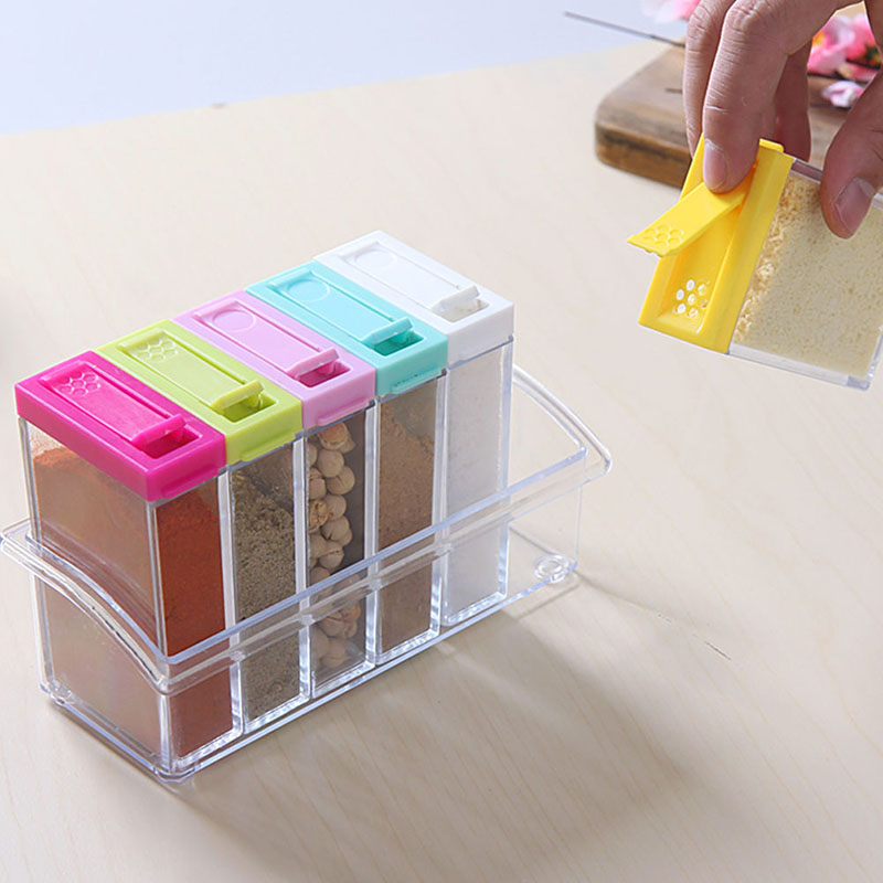 New transparent spice jar simple colorful lid seasoning for Kitchen tool 6pcs set