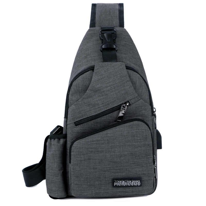 Saco peito Homens Com Garrafa Lado Bolso Sling Saco Da Lona Ombro (Interface de Carga USB) mochila Grande Saco Crossbody Charing 2019