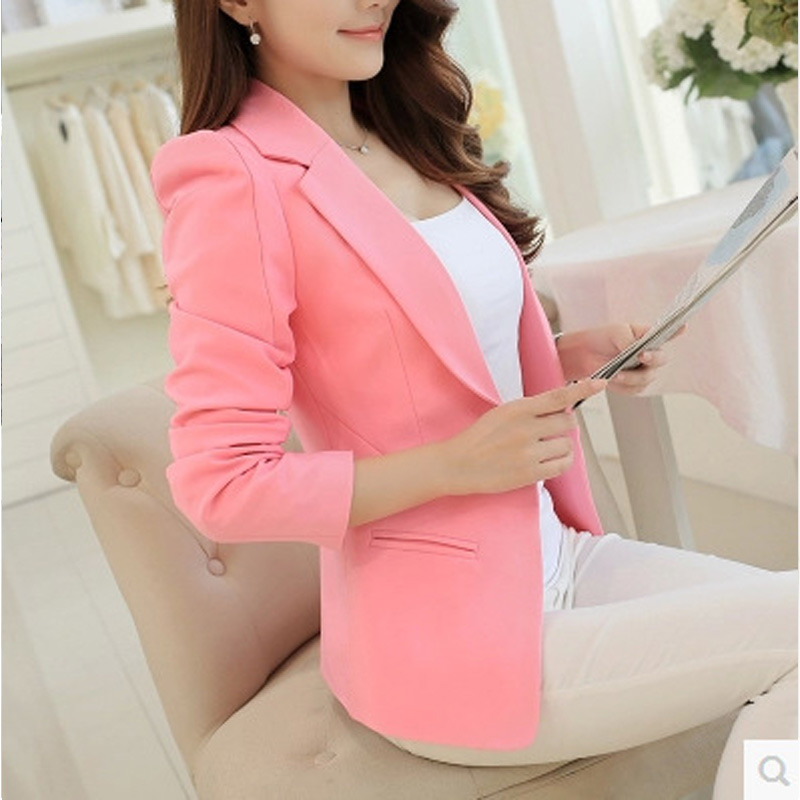 2018 New Arrival Women Single Button Solid color Blazers Autumn Fashion Women Slim Fit Blazers Jackets Long Sleeve Women Coat