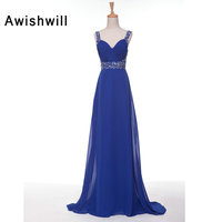 Real Picture Royal Blue Prom Dresses 2018 Spaghetti Strap Sexy Open Back Slim Fit Evening Gowns Long Party Dress Cheap