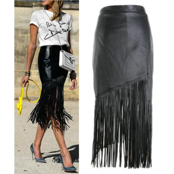 2015 fashion high street tassel fringe skirt black punk high waist ...