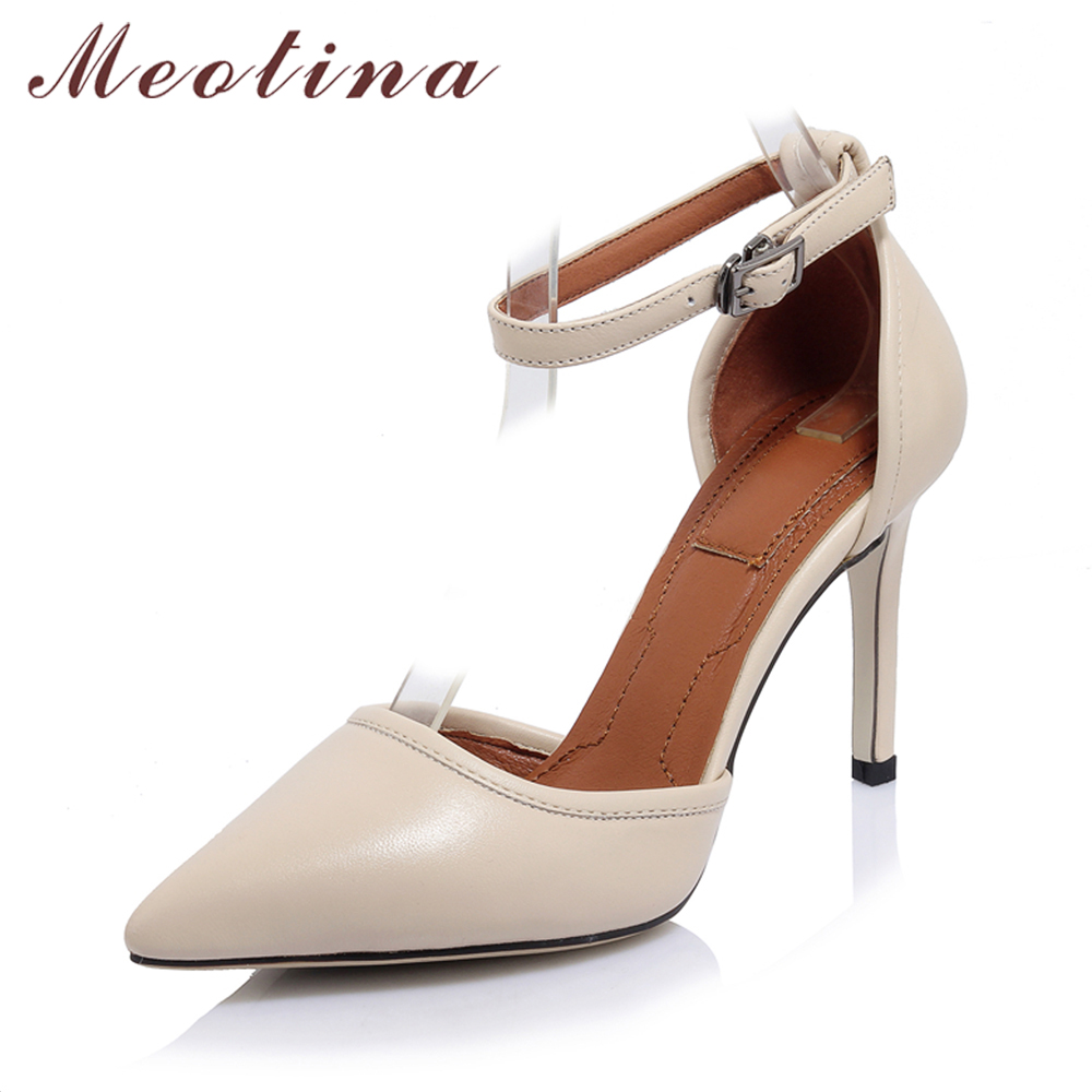 Meotina Genuine Leather Shoes Women High Heels Ankle Strap High Heel Shoes Pointed Toe Party Pumps Two Piece Stiletto Size 34-40 wetkiss 2017 brand women pumps kid suede genuine leather summer pumps for women fashion pointed toe ankle strap high heels shoes