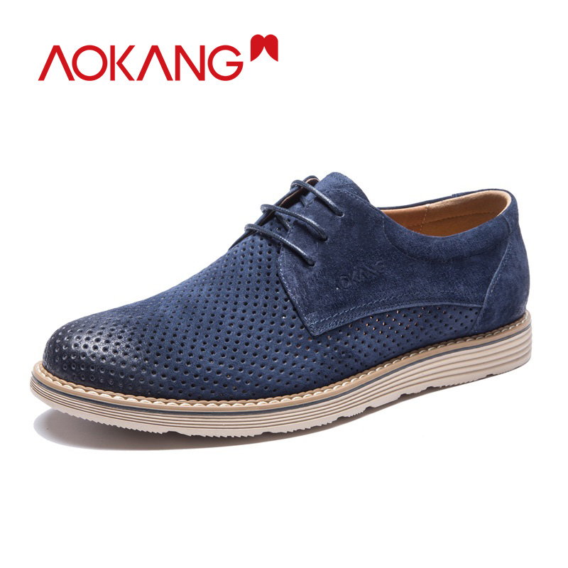 AOKANG New Arrival Shoes Summer Men Luxury Brogue Mens Dress Shoes Male British Style Oxfords high