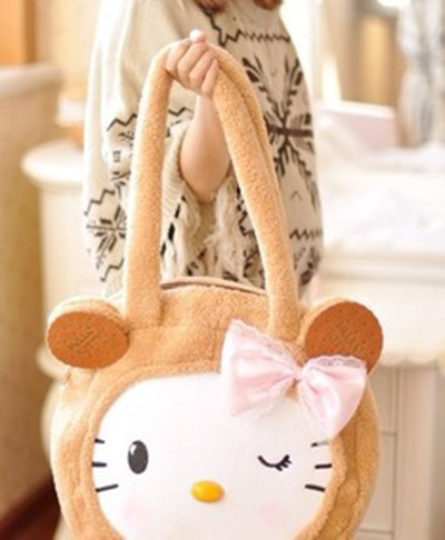 Free Shipping Kawaii Biscuits Cookies Hello Kitty Bow Plush Shoulder Bag Handbag Retail Handbag Mummy Bag