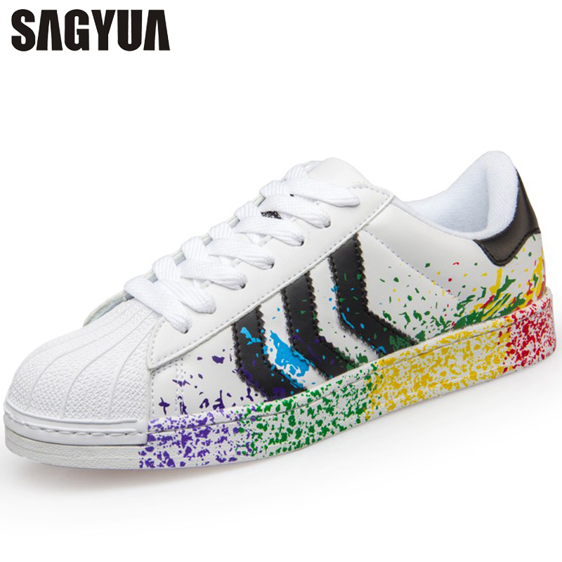 SAGYUA High Quality Superstar Fashion Women Youth Ladies Casual Footwear Thick Bottom Platform Flat Board Shoes Chaussures T212