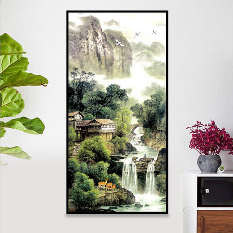 diamond mosaic 2017 wall stickers 3d diamond painting Chinese landscape waterfall picture diamond embroidery rhinestone full newdiamond mosaic 2017 wall stickers 3d diamond painting Chinese landscape waterfall picture diamond embroidery rhinestone full new