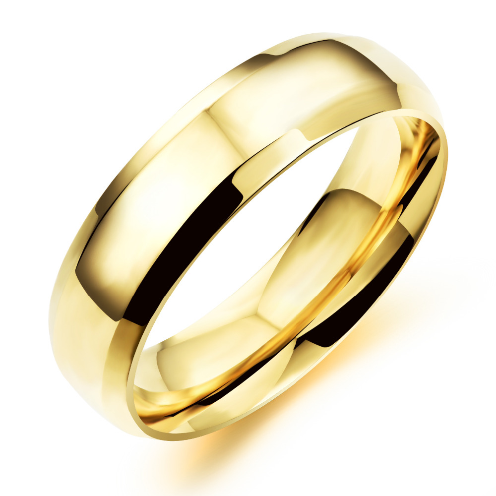 OPK Simple Gold Color Couple Rings Casual 316L Stainless Full ...