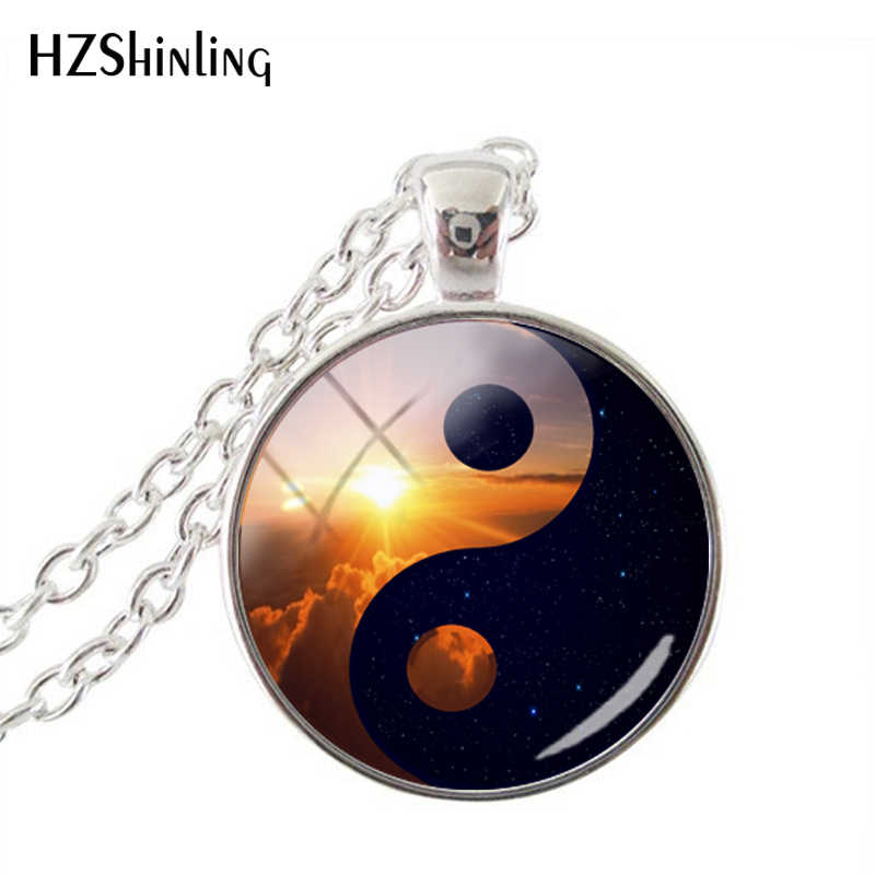 Yin Yang Universe Galaxy Glass Picture Pendant Handmade Mens Womens Necklace Jewelry Statement  Personality Necklaces Jewelry