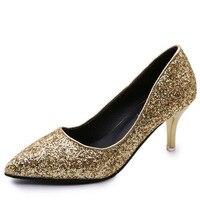 Пикантные женские туфли-лодочки металлизированными блестками Свадебная обувь для невесты острый носок и высокий каблук женские праздничн...