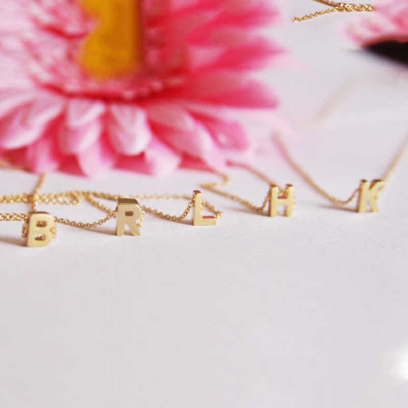 Tiny Gold Silver Initial Name Necklace 26 Letters Pendant Necklace On Neck For Women Girls Gift Jewelry XL216