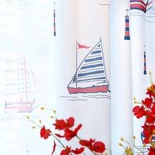 Terminado en el Mediterráneo cortinas dormitorio piso flotante velas de barco de la historieta de los niños para los niños los niños de tela hhsd
