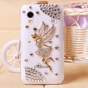For samsung   transparent small angel i9100 i9003 s5830 s5660 i9000 rhinestone shell phone case set