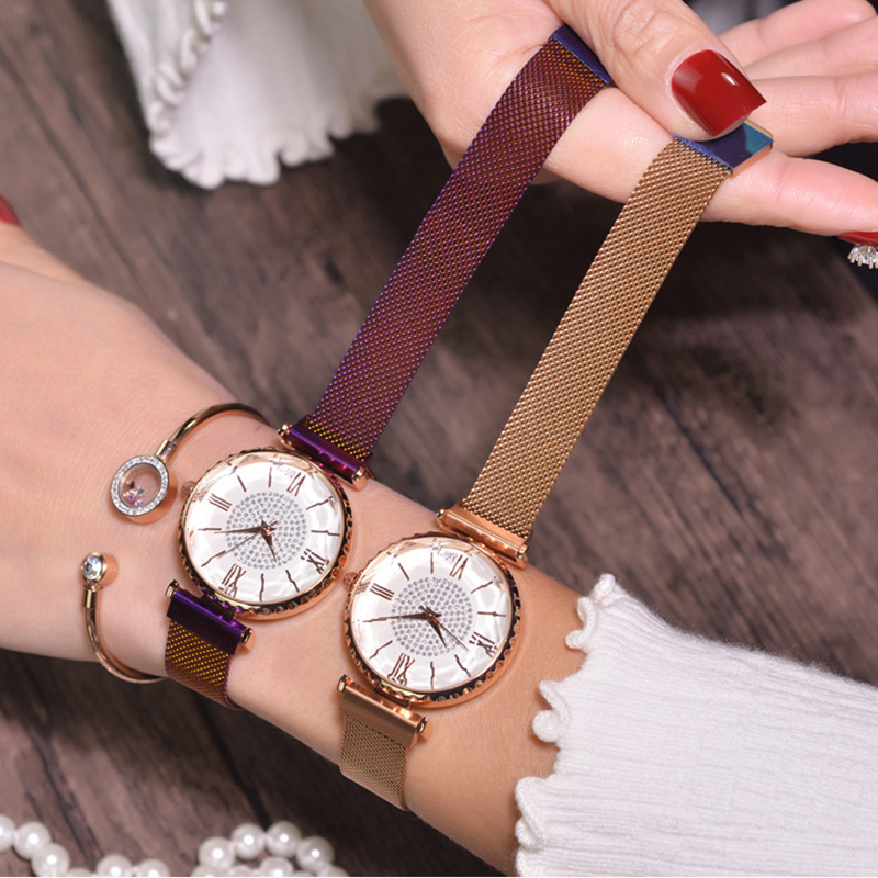 Women Bracelet Watch 2019 Luxury Crystal Ladies Magnet Mesh Clock Fashion Casual Waterproof Female Wristwatches relogio feminino(China)