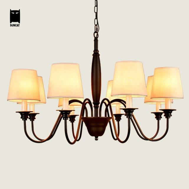 schwarz eisen stoffschirm kronleuchter leuchte moderne hngende lampe lustre avize luminaria fr foyer esstisch wohnzimmer - Kronleuchter Fur Foyer