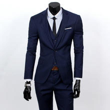 Fashion Boutique Pure Color Groom Wedding Dress Suits Men Slim Formal Business Blazer Suits