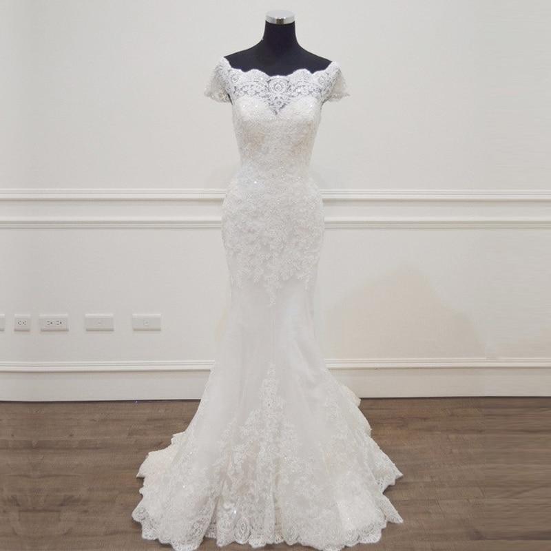 Sirène Robes De Mariée 2018 Robe De Novia casamento Bateau Cou Manches Courtes Robes De Mariée robe de mariage de mariée brautkleid NOUVELLE