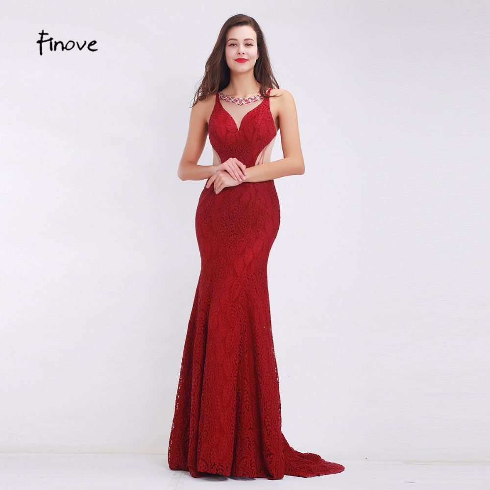 Finove Wine Red Long Elegant Memaid Evening Dresses 2019 Sexy Party Vestidos De Festa Beads Tulle Lace Black Prom Dresses