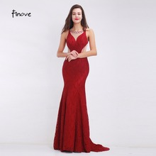 Finove Wine Red Long Elegant Memaid Evening Dresses 2017 Sexy Party Vestidos De Festa Beads Tulle