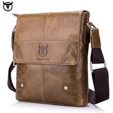 100% Genuine Leather BULLCAPTAIN Mens Messenger bag vintage cow leather shoulder for male fashion crossbody Handbags
